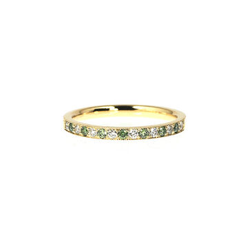 Green and white diamond wedding band made from yellow gold, milgrain ring, half eternity, green wedding, thin, green engagement, vintage
