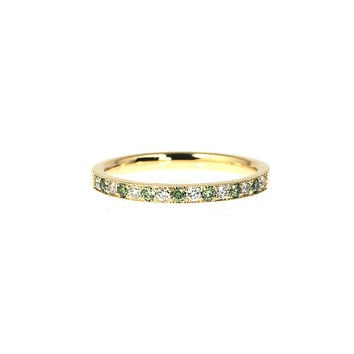 Ready to ship size 6, Green and white diamond wedding band made from yellow gold, milgrain ring, half eternity ring, green wedding, thin