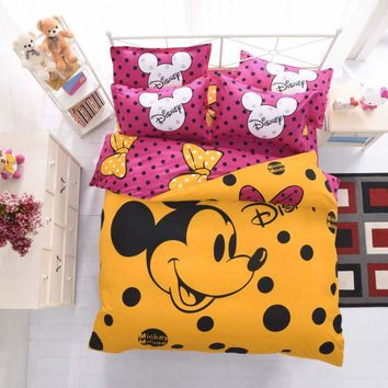 mickey mouse bedding sets queen disney cartoon duvet cover kids adult home decor 4pcs single twin full bed sheet yellow gift