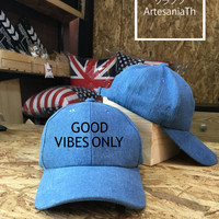 Good Vibes Only Baseball Cap, dad Cap, Girlfriend gift, Low-Profile Baseball Cap Baseball Hat