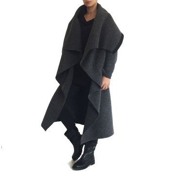Long hooded wool coat/ Oversized coat/ Unisex long coat/ Wool jacket coat/ Loose wool coat/ Cozy wrap coat/ Hooded cardigan/ XL, XXL,XXXL