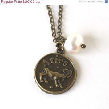 VALENTINES DAY SALE Aries astrology zodiac star sign charm and white pearl antique bronze necklace