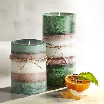 Fresh Balsam Layered Pillar Candles