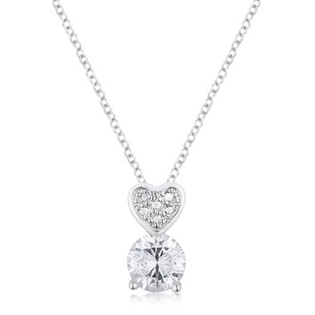 Sweetheart Necklace - Women's Rhodium Plated Brass Clear CZ And Heart Chain Necklace