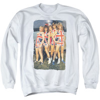 DEF LEPPARD/FLAG PHOTO - ADULT CREWNECK SWEATSHIRT - WHITE -