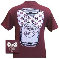 MSU Mississippi State Bulldogs Mason Jar Big Bow Girlie Bright T Shirt