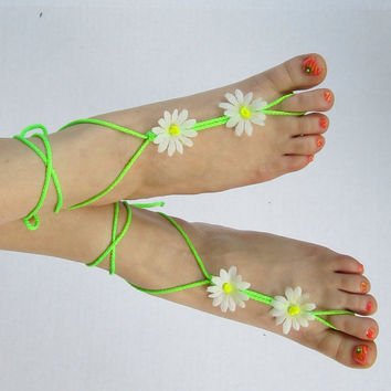 LIME LIGHT barefoot sandals neon lime green white daisy