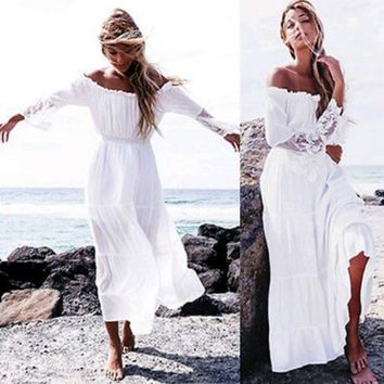 Sexy Womens Boho Off Shoulder Lace Long Sleeve Long Dress Cocktail Party Beach Loose Dresses Sundress Vestidos Outfits NEW