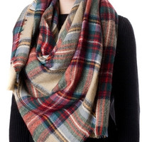 Wonder-fall Plaid Blanket Scarf