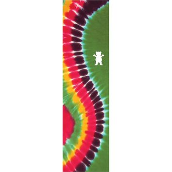 Grizzly Curved Tie Dye Single Sheet Griptape 9x33 - Green/Rainbow