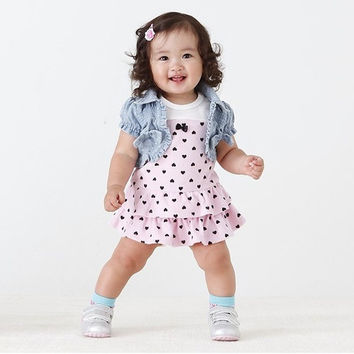 1-3Y Kids Baby Girl Vest Dress+Bow Denim Short Sleeve Jean Coat Clothes Outfits