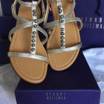 Stuart Weitzman Strap Flat Sandals Stud 6 6.5 7 M Champion Pearl Washed Gold