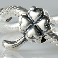 European Charm Sterling Silver Bead Four Leaf Clover