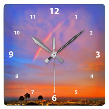 Blue & orange sky rainbow sunrise photo wall clock