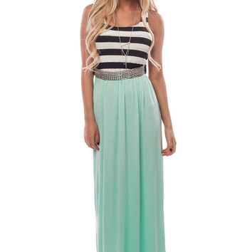 Mint Maxi Dress with Striped Top