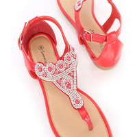 Red Rhinestone Beaded Thong Sandals Faux Leather