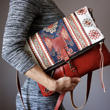 Tapestry and leather clutch, boho leather clutch, bohemian chic purse, kilim bag, fold over clutch, crossbody leather bag, VitalTemptation