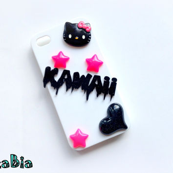 Iphone 4 4s candy pink and white hard cover - cute black kitty kawaii phone case - kawaii deco case