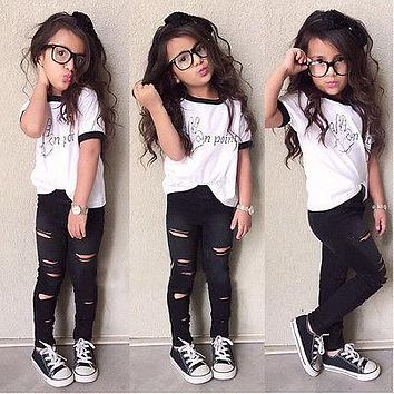 Cute Baby Kids Girls Summer Clothes Sets Fashion Outfits Tops Ripped Legging Tights Trousers 2pcs Outfits Set 2 3 4 5 6 7 Years