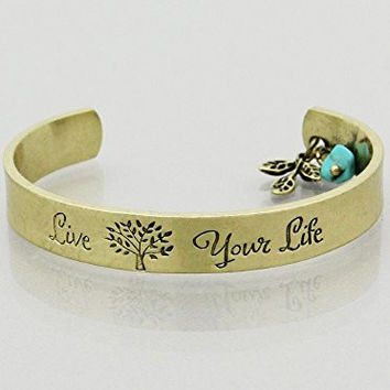 Womens Jewelry, Live Your Life Message Cuff Bracelets Color : Burnished Gold Size : Height:10mm