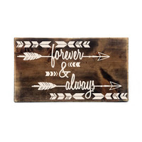 Forever and Always Aztec Wood Sign- Primitive Home Decor, Custom Wood Sign, Horse shoe Decor, Love Saying, Couples Gift