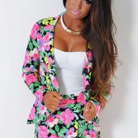 Island Hopping Tropical Multicolour Stretch Blazer | Pink Boutique