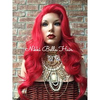 """Red Hair Curly Lace Part Front Wig 22"""""""