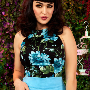Pinup Couture Carole Top in Black and Blue Floral