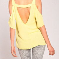Cold Shoulder Open Back Top in Lemon