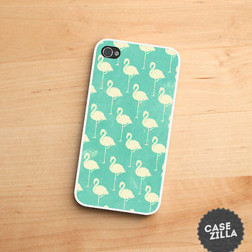 iPhone 5 Case Flamingo Pattern Light Green iPhone 5S Case, iPhone 4/4S Case, iPhone 5C Case
