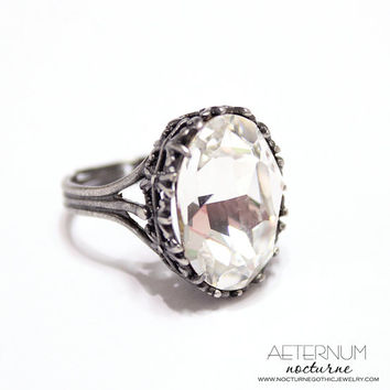 Gothic wedding ring, alternative engagement ring - antique silver, Crystal Swarovski crystal stone - Victorian Gothic jewelry