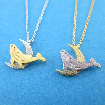 Humpback Whale on a Crescent Moon Shaped Pendant Necklace