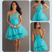 One shoulder Short Homecoming Party Prom dresses Gown Stock Size 6 8 10 12 14 16