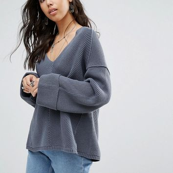Free People La Brea V-Neck Belle Sweater at asos.com