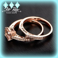 Morganite Engagement Ring 1.3ct  Asscher Cut Morganite in 14k Rose Gold Diamond Solitaire Setting with Matching Diamond Band