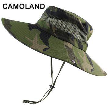 Summer Men's Women Bucket Hat Breathable Mesh Beach Sun Hats Wide Brim Outdoors Foldable Tactical Fishing Caps Camouflage Boonie