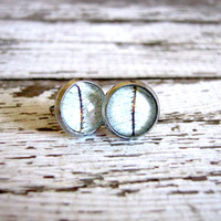 White Leaf Post Earrings : Glass Photo Studs