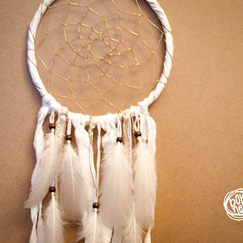 NEW YEAR SALE! - Dream Catcher - Sparkling Dreams - With Pure White Feathers and Textiles - Boho Home Decor, Nursery Mobile