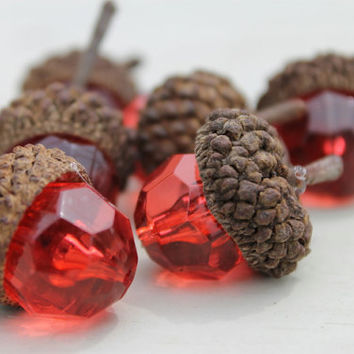 Beaded Acorns Red Faceted Beads Rustic Home & Living Bowl Fillers