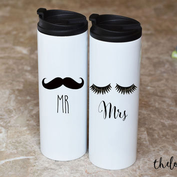 Mr and Mrs Travel Mug Set, Wedding Gift, Wedding Mugs, Engagement Travel Mugs