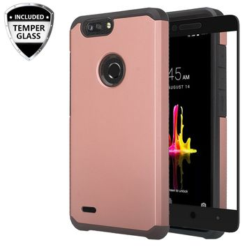 ZTE Sequoia Case, Blade Z Max, ZTE Z982 Case, [Include Temper Glass Screen Protector] Slim Dual Layered Shock Resistant Hybrid Case Cover - Rose Gold