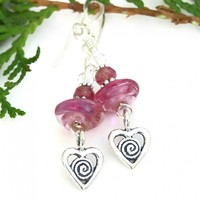 Hearts with Spirals Valentines Earrings, Pink Lampwork Swarovski Crystal Handmade Jewelry