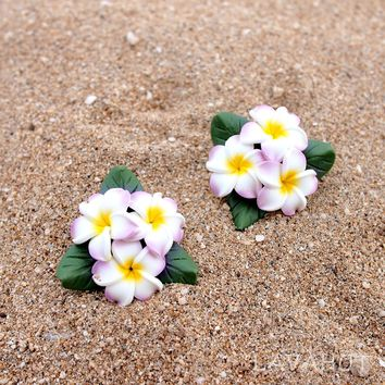 Plumeria Pink Clip-On Earrings