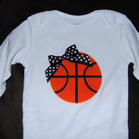 Basketball Onesuit or Shirt  With Polka Dot Bow by ThePinkPixieShop