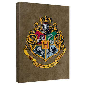 Harry Potter - Hogwarts Crest Canvas Wall Art With Back Board