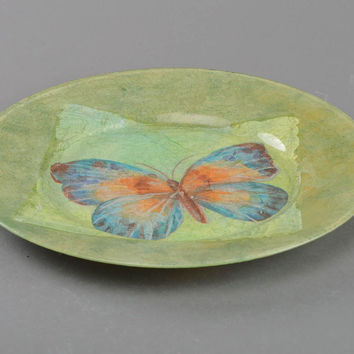 Handmade glass designer decoupage round plate wall table decoration Butterfly
