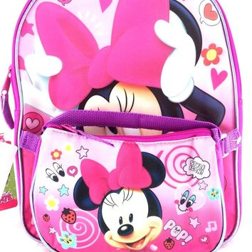 """Licensed Disney Minnie Mouse 12"""" Backpack with Mini Hand Bag Purse For Girls"""
