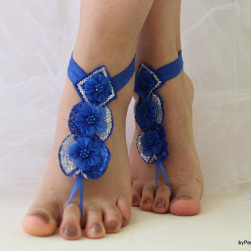 Royal Blue,Beach Wedding,Barefoot Sandals,Bridal Anklet,Wedding Shoes,Wedding Sandals,Costume Shoes,Belly Dance