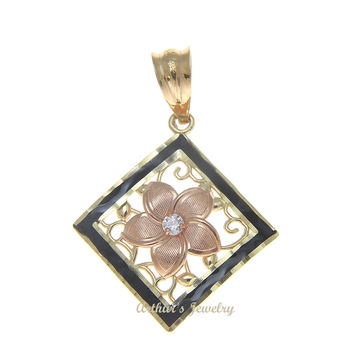 14K ROSE GOLD HAWAIIAN PLUMERIA FLOWER CZ YELLOW GOLD FILIGREE PENDANT BLACK BORDER