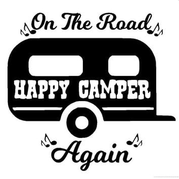 15CM*14.3CM On The Road Again Camping Car Window Sticker Camper Decal Cute Funny Car Sticker Black/Sliver C8-0225